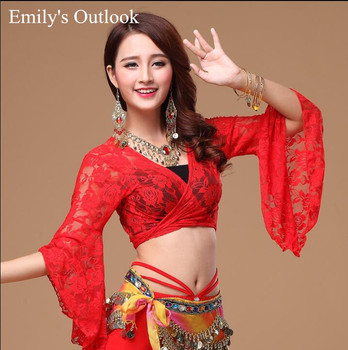 13 Culori Femei Belly Dance Bandaj Long-sleeve Wrap Top Tribal Dantela Costum Sexy V-Neck Choli Top Negru Rosu Roz Transport Gratuit