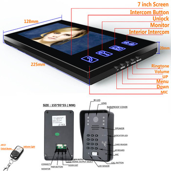 7inch Video interfon Interfon Usa Cu RFID Parola IR-CUT 1000TV Linie de Fotografiat de la Distanță fără Fir Sistem de Control Acces