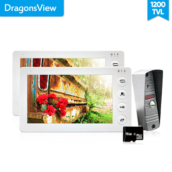 Dragonsview 7 Inch Ușă Video Telefon 2 Monitoare 1 Usa Camerei Sistem de Interfon 1200TVL Mișcare de Înregistrare de Alarmă Card SD