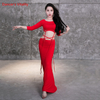 Belly Dance Costum Modal Top Cu Maneci Lungi Split Fusta De Performanță Haine De Sex Feminin Adult Elegant Bandaj Set Imbracaminte De Concurs